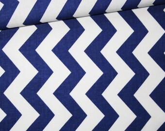 Chevron, 100% cotton fabric printed 50 x 160 cm, zigzag, chevron, Navy Blue and white