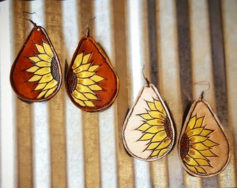 Leather Drop Sunflower Earrings