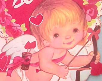 Vintage Valentine Cupid cut out Be Mine