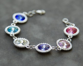 Mothers Bracelet, Mothers Day Grandma Bracelet, Personalized Gifts for Mom, Jewelry, Children's Birthstone Bracelet