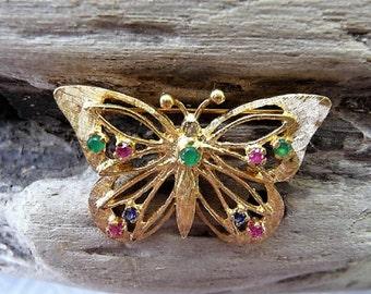 Butterfly ...  14K Jeweled Pin Brooch ** Vintage Jewelry