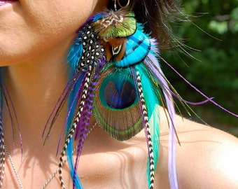 PIXIE SONG Peacock Feather Earrings
