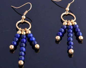 Gold filled and lapis cabochon gold hook earrings