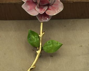 Gold Tone Pink Painted Rose