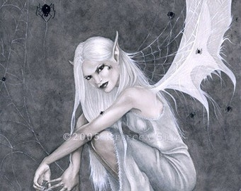 Silken Threads PRINT Fairy Gothic Spiders Webs White Grayscale Dark Fantasy Art 3 Sizes