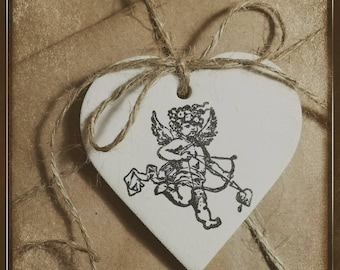 Heart Cupid ~ Polymer Clay Ornament Gift Tag