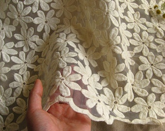 ivory lace fabric, embroidered daisy lace fabric, bridal lace fabric, curtain lace fabric by the yard