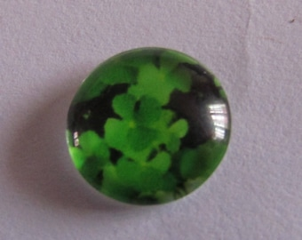 2 cabochons glass 12mm clover theme with 4 leaves