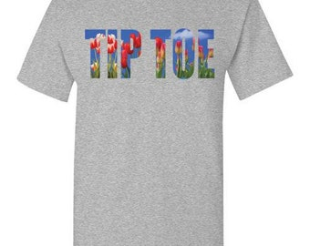 Tip Toe Through The Tulips T-Shirt Red Flowers