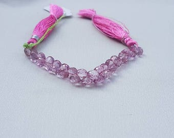 "Pink color coated Topaz Onion Facetted 4"" 5mm to 6mm"