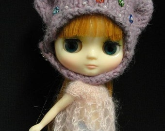 Rich Mauve Bear HeadHugger -  for Middie Blythe, Odeco and same sized friends