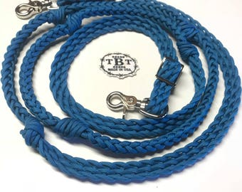 Barrel reins, blue horse tack , paracord reins, braided reins, reins with grip knots, barrel racing, western horse tack
