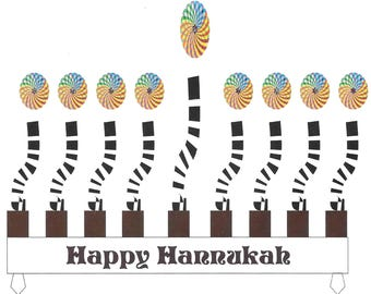 Hannukah Jewish Greeting Card - Kaleidoscope Menorah