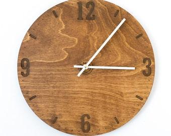 Modern Clock, Rustic Style, Large Clock, Large Wall Clock, Brown Wood Clock, Wooden Wall Clock, Kitchen Clock, Dining Room Clock, Walnut