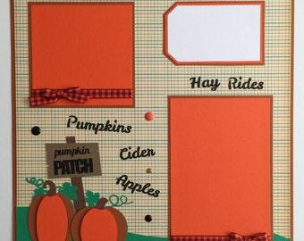 """Premade 12""""x12"""" Fall - Pumpkin Patch Scrapbook Layout"""