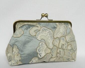 Ice Blue Clutch, Bridal Silk Clutch, Embroidered Silk Clutch, Wedding Clutch, Silk Evening Clutch, Floral Silk Clutch, UK