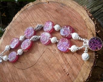 FROSTY PINK GERMAN Glass Bracelet
