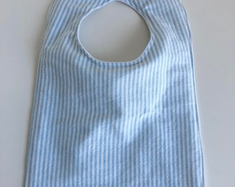 Waterproof Bib - blue oxford stripe