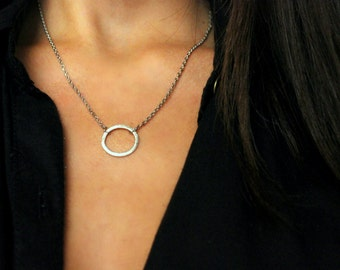 Circle silver necklace, Circle necklace, Minimalistic jewelry, Silver, Silver necklace, Jewelry for her, Circle Silver jewelry