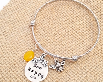 Bangle Bracelet - Expandible Bangle - Personalized Bangle Bracelet - Bee Jewelry - Bee Happy - Custom Bracelet