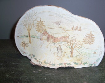 Unusual Wooden Hand Carved Covered Bridge Winter Snowman Country Scene Primitive Artwork Tabletop