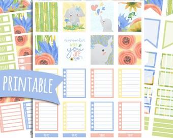 Elephant PRINTABLE Planner Stickers for Erin Condren Vertical | Sticker Printables | Happy Planner Stickers | Summer | Elephant Stickers