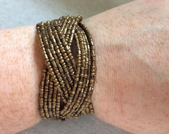 Vintage Costume Bronze Beaded Cuff Bracelet