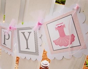 Ballerina birthday banner, pink and grey, ballerina party, ballerina banner, spin and twirl, birthday girl, girl banner, princess ballerina