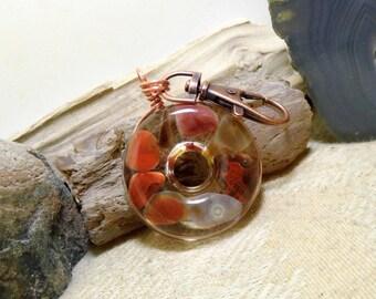 Lake Superior Agate Key Chain, Purse Clip, FOB, Rear View Mirror, Window, Sun Catcher, Copper, 10 Stone in Resin