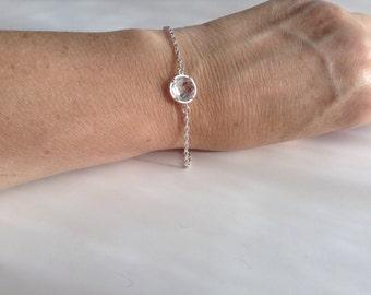 Crystal Silver Bracelet, Bridal Gift