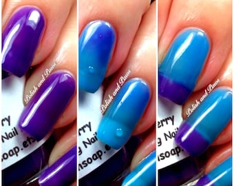 """Free U.S. Shipping - Color Changing Thermal Nail Polish, Ombre Blue to Purple - Mood Polish - """"Razzleberry""""- Gift for Her - Girlfriend Gift"""