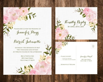 Floral Wedding Invitations; Pink Floral Wedding Invitations; Garden Floral Wedding Invitations; Wedding Invitations; Blush Floral invitation