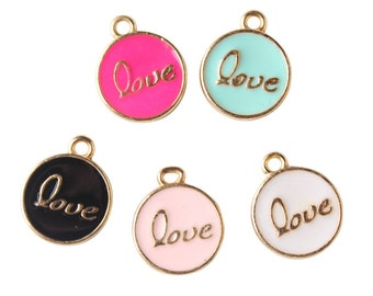 10PCS 12x15mm  two-sided  letter charms, Color Oil Drop Metal letters, Intial Disc, Round charm Enamel Charms DOL02