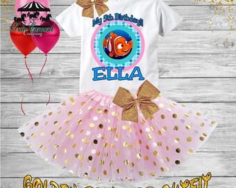 5th Birthday Tutu Outfit, Finding Nemo Birthday Outfit, Birthday shirt, Tutu Set (gt71)