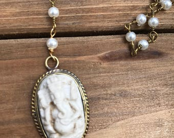 Pearl Necklace with Ganesha Charm