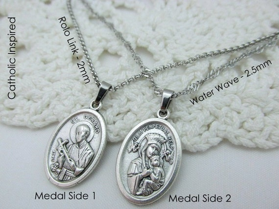 St gerard medal necklace stainless steel chain catholic like this item aloadofball Image collections
