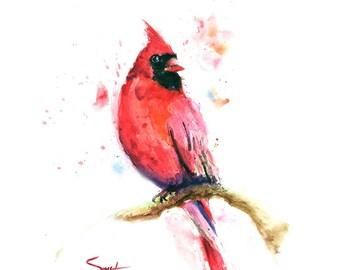 RED CARDINAL BIRD - watercolor cardinal, bird painting, bird art, red bird, cardinal print, cardinal wall art, cardinal decor
