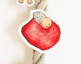 Whimsical doll pin hand painted illustration brooch, art pin brooch, quirky pins, textile art brooch, gift for holidays, christmas gift  #2