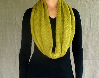 infinity scarf wrap cowl snood knit in chartreuse lambswool alpaca