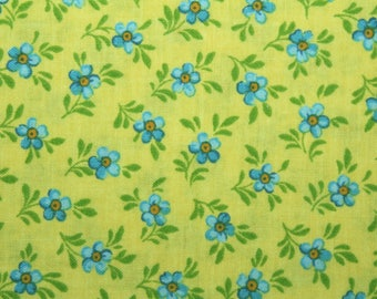 Blue Flowers, Fabric, Floral Fabric, Cotton Fabric, Quilting Fabric, Sewing Fabric, Fabric Traditions, Yellow Background, By The Yard