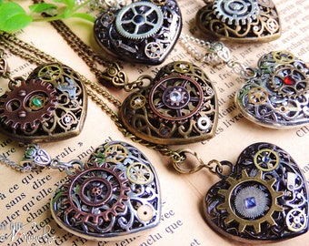Heart Necklace Valentine's day steampunk gears mechanical heart handcrafted gift choice