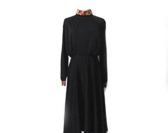 70s Dress NWT Vintage Deadstock Momentum Polyester Dress / Cross Stitch / Sz M