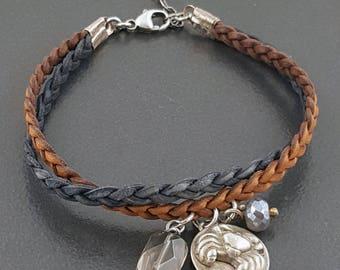 Crab Charm Bracelet, leather bracelet, boho bracelet, bohemian, smoky quartz, moonstone, beachy bracelet, blue brown silver, michele grady