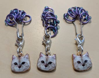 Cat Stitch Markers - Purple (Fit up to size 4 mm/US6)