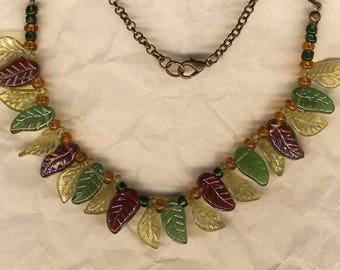 Collar ruffle, leaves, glass and resin, diaries, nature inspired leaf charms, jewelry