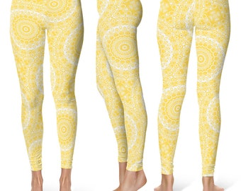 Mustard Leggings Yoga Pants, Printed Yoga Tights for Women, Yellow and White Mandala Pattern