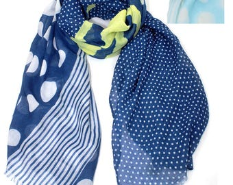 Monogram Blue White Polka Dot Scarves for Women Personalized Scarf Womens Scarves Lightweight Scarf Bridesmaids Gift