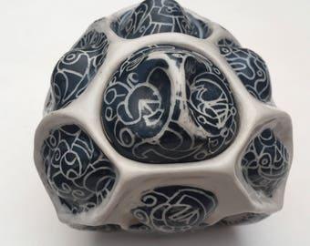 Sgraffito Ceramic Lidded Pot / Abstract Ceramic Sculptural Pot