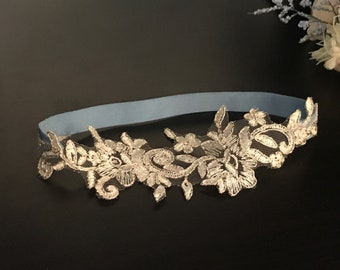 Wedding Lace GARTER, Single Garter, White Lace with Silver Lining,