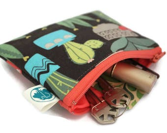 Coin Purse - Coin Bag - Change Purse - Small Cosmetic Bag - Zipper Pouch - Change Pouch in Cactus